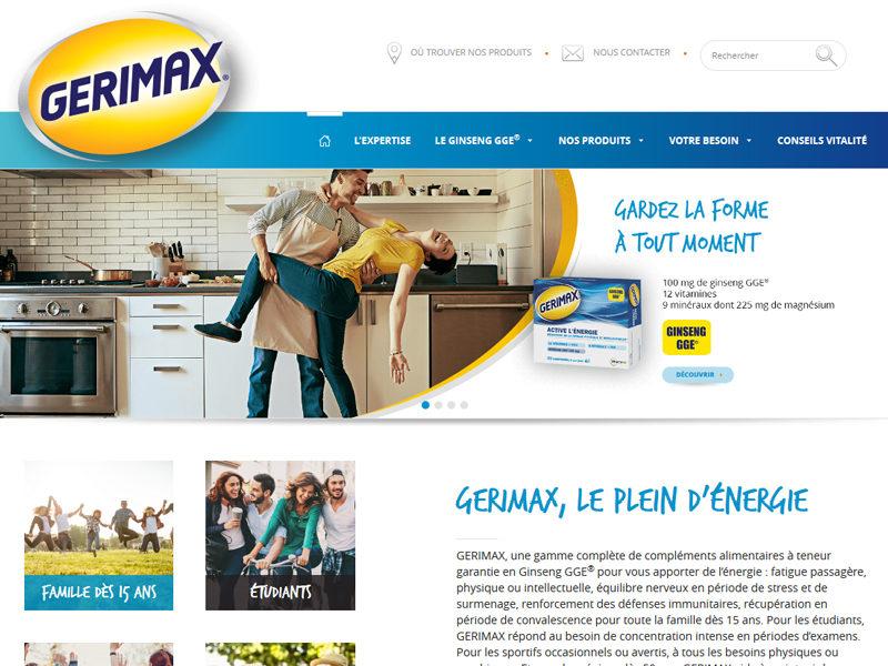 Gérimax site vitrine complément alimentaire